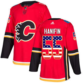Men's  Calgary Flames #55 Noah Hanifin Red Home  USA Flag Stitched Hockey Jersey