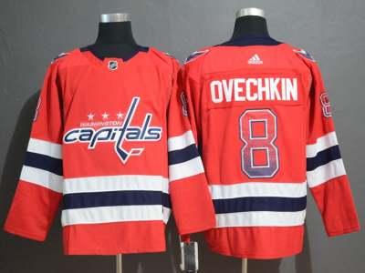 Men's  Capitals #8 Alex Ovechkin Red Drift Fashion Stitched Hockey Hockey Jersey