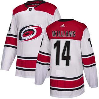 Men's  Carolina Hurricanes #14 Justin Williams White Road  Stitched Hockey Jersey
