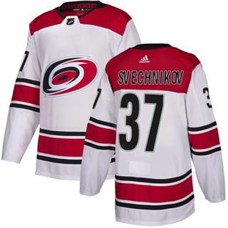 Men's  Carolina Hurricanes #37 Andrei Svechnikov White Road  Stitched Hockey Jersey
