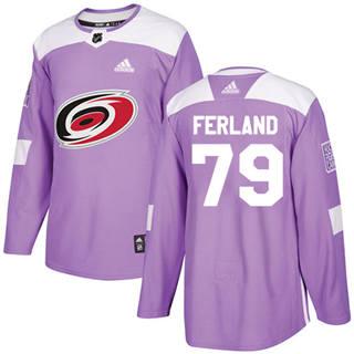 Men's  Carolina Hurricanes #79 Michael Ferland Purple  Fights Cancer Stitched Hockey Jersey