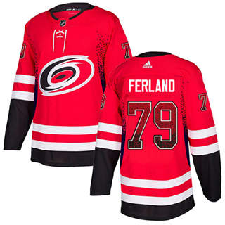 Men's  Carolina Hurricanes #79 Michael Ferland Red Home  Drift Fashion Stitched Hockey Jersey
