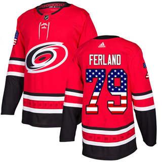 Men's  Carolina Hurricanes #79 Michael Ferland Red Home  USA Flag Stitched Hockey Jersey