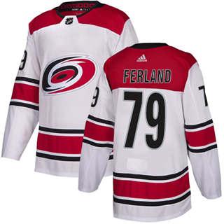 Men's  Carolina Hurricanes #79 Michael Ferland White Road  Stitched Hockey Jersey