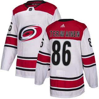 Men's  Carolina Hurricanes #86 Teuvo Teravainen White Road  Stitched Hockey Jersey