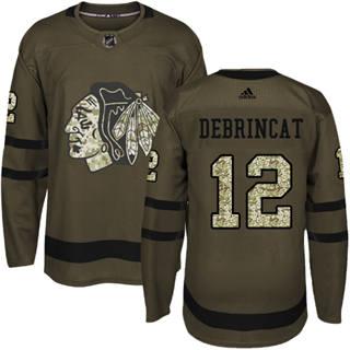 Men's  Chicago Blackhawks #12 Alex DeBrincat Green Salute to Service Stitched Hockey Jersey