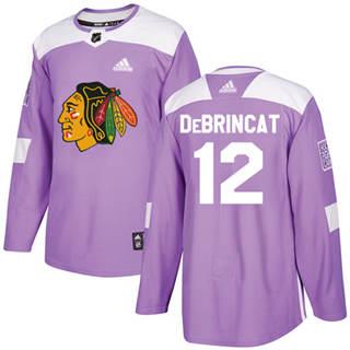 Men's  Chicago Blackhawks #12 Alex DeBrincat Purple  Fights Cancer Stitched Hockey Jersey