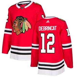 Men's  Chicago Blackhawks #12 Alex DeBrincat Red Home  Stitched Hockey Jersey