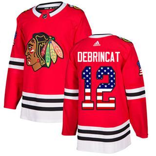 Men's  Chicago Blackhawks #12 Alex DeBrincat Red Home  USA Flag Stitched Hockey Jersey