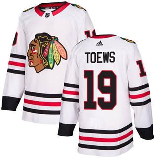 Men's  Chicago Blackhawks #19 Jonathan Toews White Road  Stitched Hockey Jersey