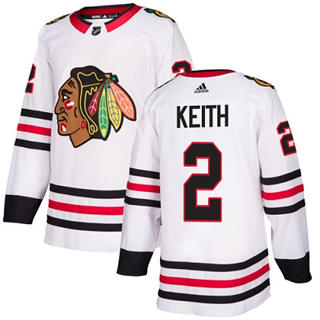 Men's  Chicago Blackhawks #2 Duncan Keith White Road  Stitched Hockey Jersey