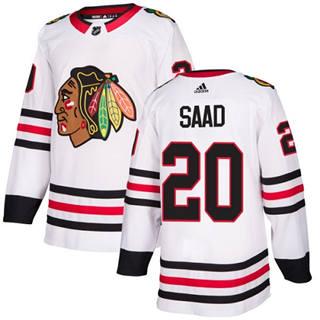 Men's  Chicago Blackhawks #20 Brandon Saad White Road  Stitched Hockey Jersey