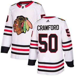 Men's  Chicago Blackhawks #50 Corey Crawford White Road  Stitched Hockey Jersey