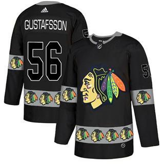 Men's  Chicago Blackhawks #56 Erik Gustafsson Black  Team Logo Fashion Stitched Hockey Jersey