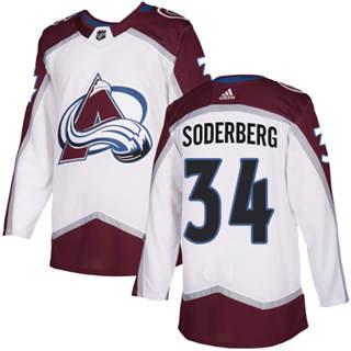 Men's  Colorado Avalanche #34 Carl Soderberg White Road  Stitched Hockey Jersey