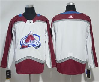 Men's  Colorado Avalanche Customized White Road  Stitched Hockey Jersey