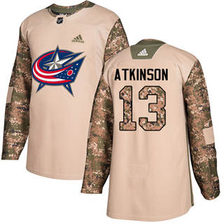 Men's  Columbus Blue Jackets #13 Cam Atkinson Camo  2017 Veterans Day Stitched Hockey Jersey