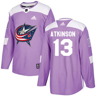 Men's  Columbus Blue Jackets #13 Cam Atkinson Purple  Fights Cancer Stitched Hockey Jersey