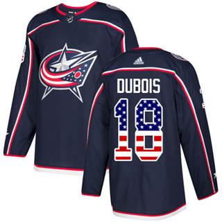 Men's  Columbus Blue Jackets #18 Pierre-Luc Dubois Navy Blue Home  USA Flag Stitched Hockey Jersey