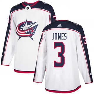 Men's  Columbus Blue Jackets #3 Seth Jones White Road  Stitched Hockey Jersey