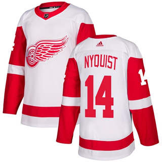 Men's  Detroit Red Wings #14 Gustav Nyquist White Road  Stitched Hockey Jersey