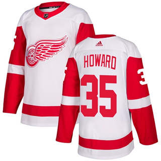Men's  Detroit Red Wings #35 Jimmy Howard White Road  Stitched Hockey Jersey