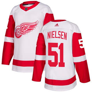 Men's  Detroit Red Wings #51 Frans Nielsen White Road  Stitched Hockey Jersey