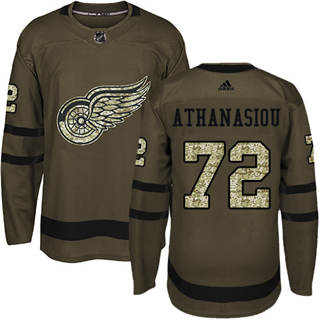 Men's  Detroit Red Wings #72 Andreas Athanasiou Green Salute to Service Stitched Hockey Jersey