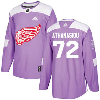 Men's  Detroit Red Wings #72 Andreas Athanasiou Purple  Fights Cancer Stitched Hockey Jersey