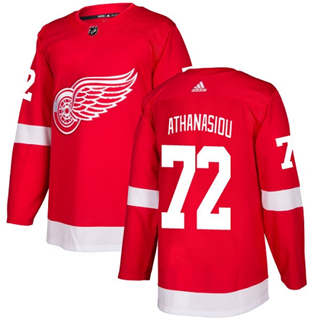 Men's  Detroit Red Wings #72 Andreas Athanasiou Red Home  Stitched Hockey Jersey