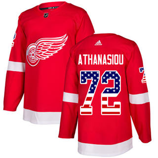 Men's  Detroit Red Wings #72 Andreas Athanasiou Red Home  USA Flag Stitched Hockey Jersey