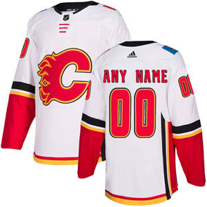 Men's  Flames Personalized  White Road Hockey Jersey