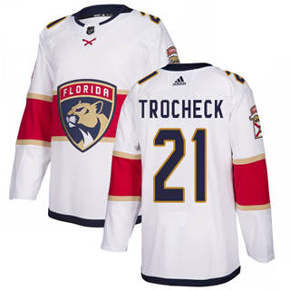 Men's  Florida Panthers #21 Vincent Trocheck White Road  Stitched Hockey Jersey