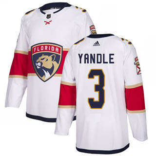 Men's  Florida Panthers #3 Keith Yandle White Road  Stitched Hockey Jersey