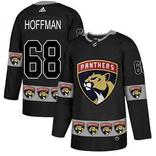 Men's  Florida Panthers #68 Mike Hoffman Black  Team Logo Fashion Stitched Hockey Jersey