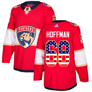 Men's  Florida Panthers #68 Mike Hoffman Red Home  USA Flag Stitched Hockey Jersey