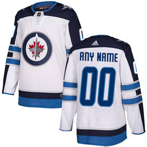Men's  Jets Personalized  White Road Hockey Jersey