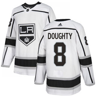 Men's  Los Angeles Kings #8 Drew Doughty White Road  Stitched Hockey Jersey