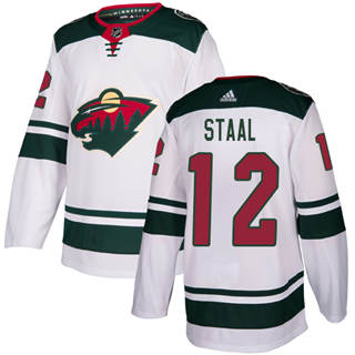 Men's  Minnesota Wild #12 Eric Staal White Road  Stitched Hockey Jersey
