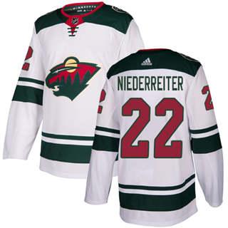 Men's  Minnesota Wild #22 Nino Niederreiter White Road  Stitched Hockey Jersey