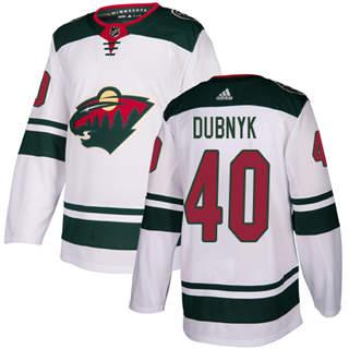 Men's  Minnesota Wild #40 Devan Dubnyk White Road  Stitched Hockey Jersey