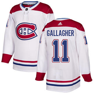 Men's  Montreal Canadiens #11 Brendan Gallagher White Road  Stitched Hockey Jersey