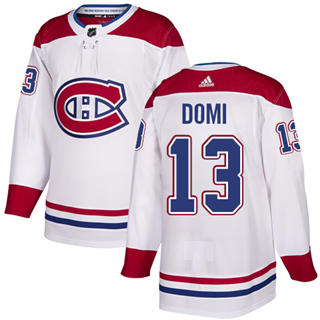 Men's  Montreal Canadiens #13 Max Domi White Road  Stitched Hockey Jersey