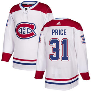 Men's  Montreal Canadiens #31 Carey Price White  Stitched Hockey Jersey