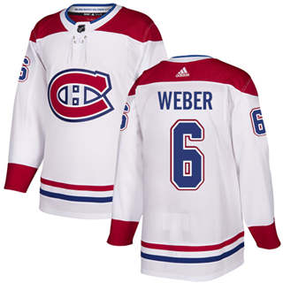 Men's  Montreal Canadiens #6 Shea Weber White  Stitched Hockey Jersey