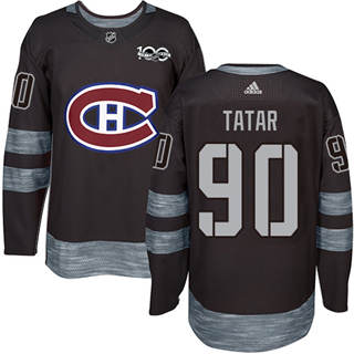Men's  Montreal Canadiens #90 Tomas Tatar Black 1917-2017 100th Anniversary Stitched Hockey Jersey