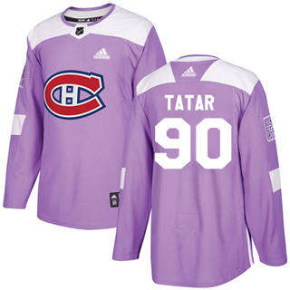 Men's  Montreal Canadiens #90 Tomas Tatar Purple  Fights Cancer Stitched Hockey Jersey