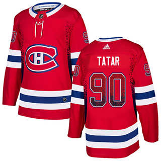 Men's  Montreal Canadiens #90 Tomas Tatar Red Home  Drift Fashion Stitched Hockey Jersey