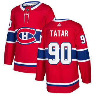 Men's  Montreal Canadiens #90 Tomas Tatar Red Home  Stitched Hockey Jersey