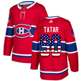 Men's  Montreal Canadiens #90 Tomas Tatar Red Home  USA Flag Stitched Hockey Jersey